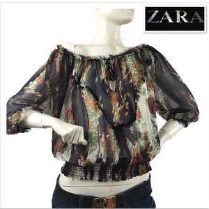 ZARA boho sheer printed blouses long sleeve